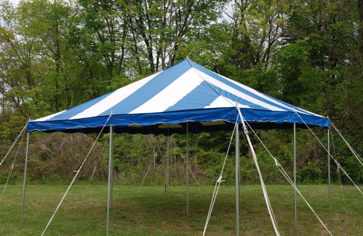 20x20 Blue & White Pole Tent