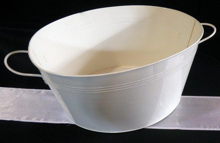 White Galvanized Oval Tub
