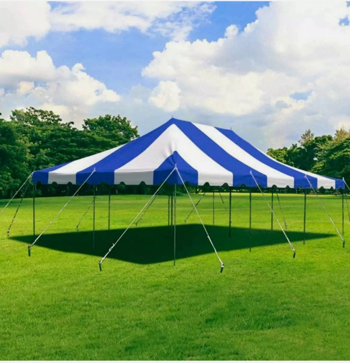 20' x 30' Canopy Pole Party Tent - Blue and White