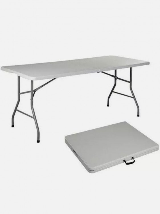 Rectangle White Plastic Fold in Half Table 6' x 30