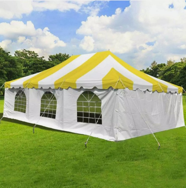 20x30 Yellow & White Pole Tent