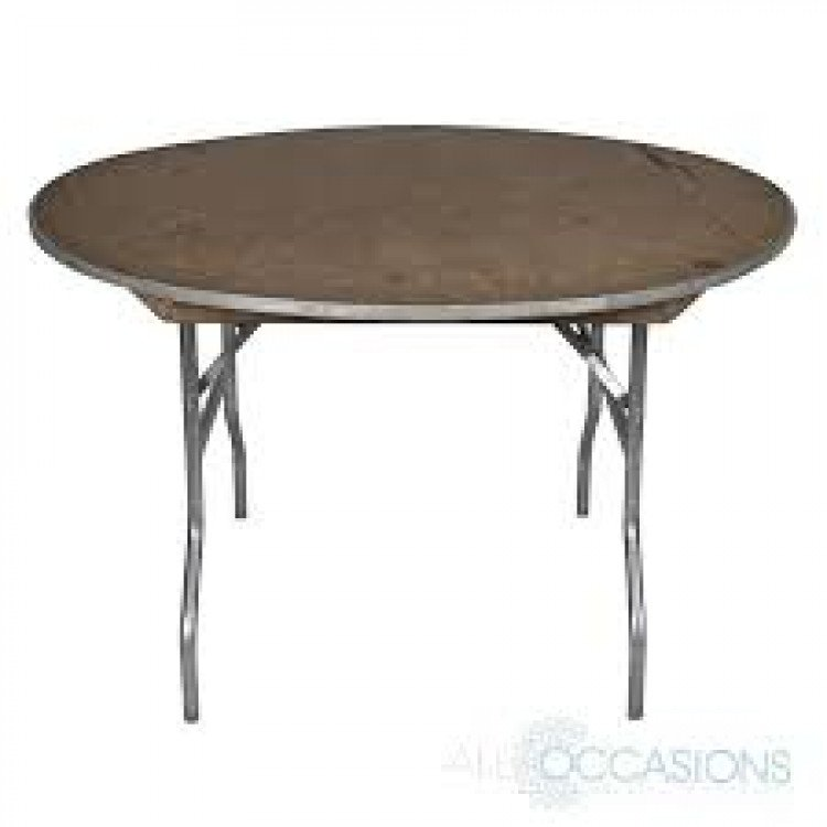 Round Wood Top Table 48