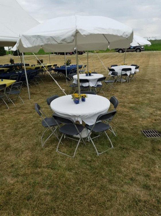"umbrella20tables 1607970650 big - Umbrella White Top Table 48"" Round With Umbrella And Base"
